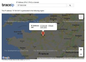 The Trace IP map shows a website attack from Paris