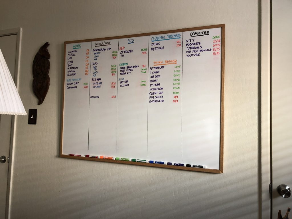 Moving around gets me working on my whiteboard