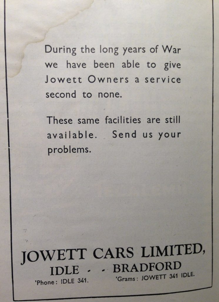 Bring us your problems says the add from Jowett Cars Limited