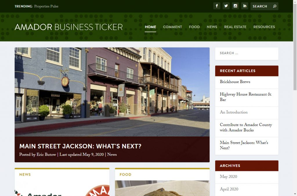 The Amador Business Ticker home page